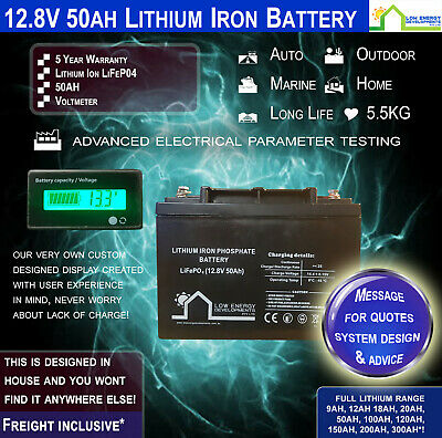 50AH 12.8V Lithium Iron LiFePo4 Battery with Voltage Display - Free freight*