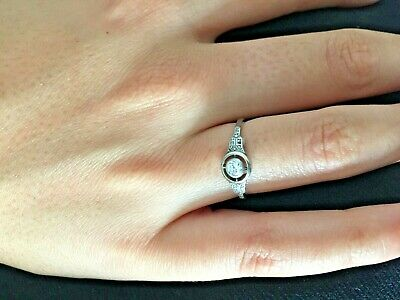 Antique art deco 14K white gold diamond halo ring sz 7 by Weiman Brotheres NY