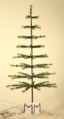 "Bethany Lowe 50"" Green Variegated Feather Christmas Tree with Box Base"