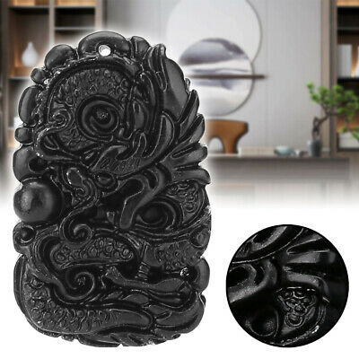 Chinese Natural Black Green Jade Pendant Dragon Good Lucky Amulet Gifts Decor