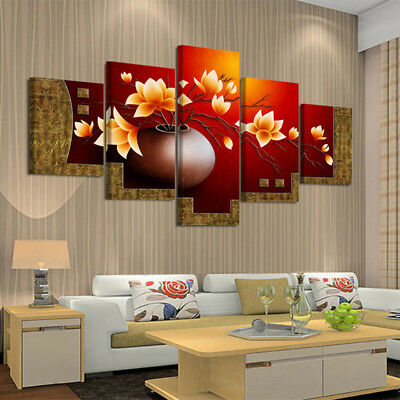 Home Living Room 5 Picture Flower Vase Canvas Unframed Wall Oil Painting Decor