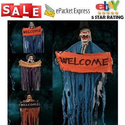 Halloween Hanging Ghost Voice Electric Skull Skeleton Ghost Welcome Sign Horror