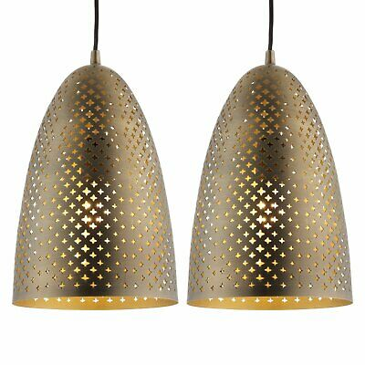 Pair of Modern Antique Brass Cut Out Ceiling Light Pendant Fitting Kitchen Diner