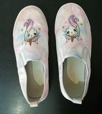 H&M Girls Kids Pink Unicorn Shoes Trainers (Size 5) Pre-owned