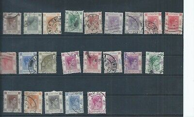 Hong Kong stamps. 1928 etc George VI used lot to $5.  Bottom row faults (F885)
