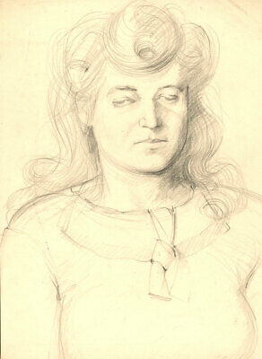 Peter Collins ARCA - c.1970s Charcoal Drawing, Portrait Study