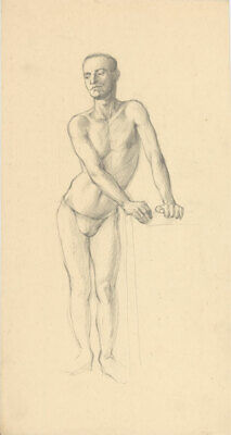 Peter Collins ARCA - c.1970s Graphite Drawing, Standing Male Nude