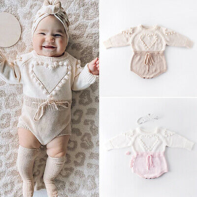 UK Infant Baby Girl Knitted Clothes Love Romper Jumpsuit Bodysuit Outfit Autumn