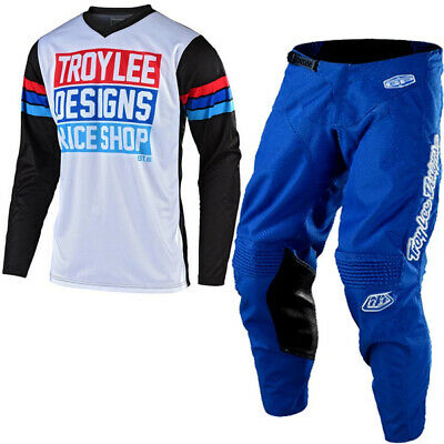 Troy Lee Designs Gp Carlsbad White Black Blue Kit Combo