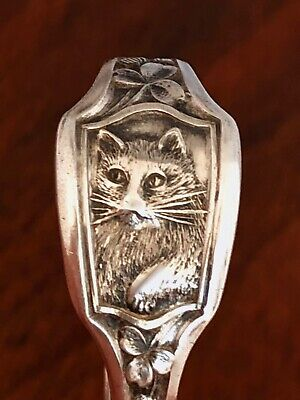 - Watrous Curved Handle Baby Spoon: Cat To Handle, No Monogram