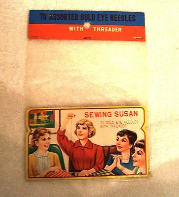 Vintage Needle Book Case Card with Original Packaging Sewing Susan Made In Japan