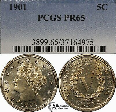 "1901 5c Liberty Head ""V"" Nickel PCGS PR65 PROOF rare old type coin money"
