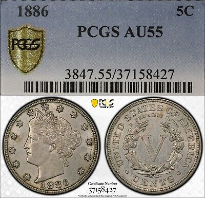 "1886 5c Liberty Head ""V"" Nickel PCGS AU55 rare old type coin money"