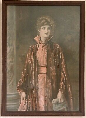 Beautiful, Large Antique Print Of A Victorian Lady Christmas 1887