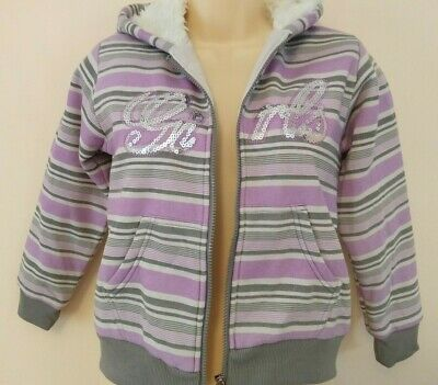 Girls Funky Fur Lined Hoodie with shimmering effect Lilac/Grey - Age 12 yrs