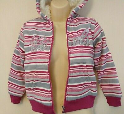 Girls Funky Fur Lined Hoodie with shimmering effect Pink/Grey - Age 10 yrs