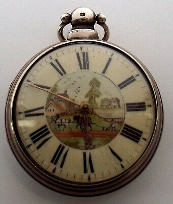 Rare Fine Painted Dial Silver  Verge Fusee  Pocket Watch Working With Key