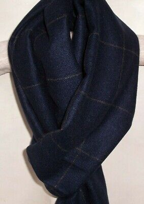 New Mens Soft Cashmere Feel Navy Blue Grey Reversible Squares Scarf
