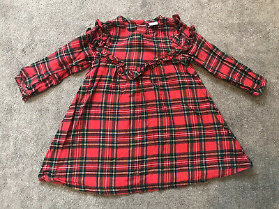 Girls Red Tartan Dress From Next Age 1.5-2 Years