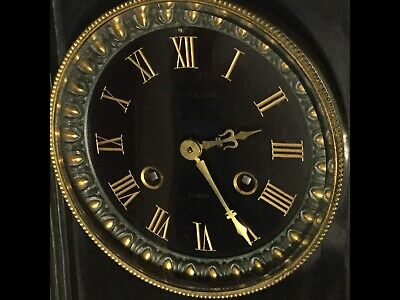 Antique 19Th Century Marble .Slate Bronze Clock