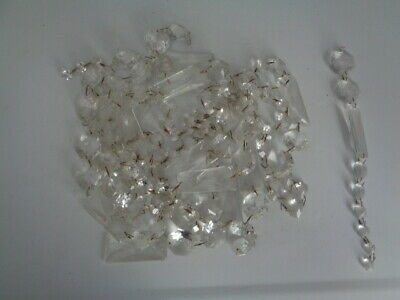 Vintage Crystal Glass Prisms Chandelier Lamps craft lot 2.5 - 0.5 inches 135 pcs