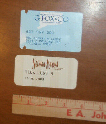 old charge credit cards G. FOX & Co Hartford Conn Neiman Marcus Department Store