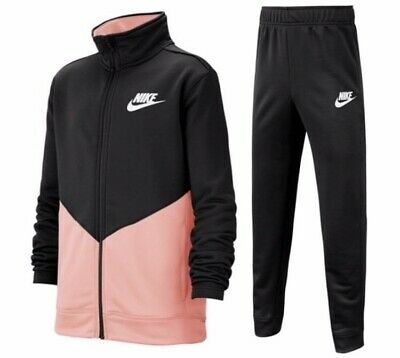 Nike Junior Girls Sportswear Fashion Lifestyle Tracksuit Track Suit Black Salmon