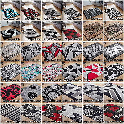 Imperial Modern Quality Black Grey Silver Low Cost Cheap Budget Area Rugs Runner