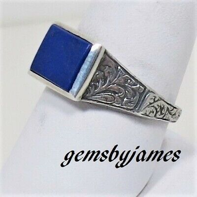 OLD Ring Vtg Hand Etched Scroll ROYAL BLUE LAPIS 925 Sterling Silver Sz 8