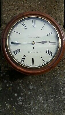 "Antique 12"" English dial clock . Fusee . Harrison & Son . Darlington ."