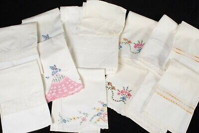 13-pc Vintage Embroidered Linens 11 Pillow Cases 1 Sheet 1 Kerchief
