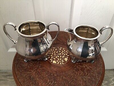 Large Vintage Silver Plated Footed Milk/cream Jug & Sugar Bowl EPBM