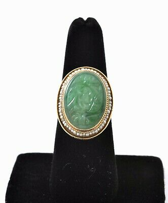 Early 20C Chinese 14K Gold Jadeite Jade Carved Carving Cabochon Ring Seed Pearl