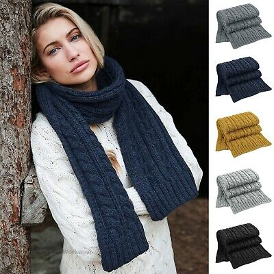 Long Chunky Knit Scarf Mens Womens Ladies Knitted Winter Warm Heavy Ski Scarves