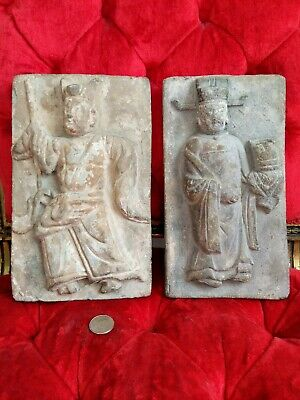 Song Dynasty Relief Molded Tile Pair Chinese Pottery Ancient Art Far East