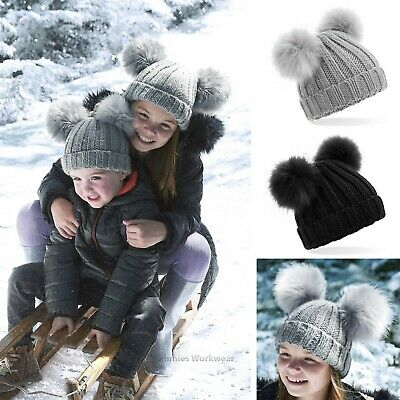 Children's Double Pom Pom Beanie Hat Warm Winter Bobble Boys Girls 6 - 12 Years