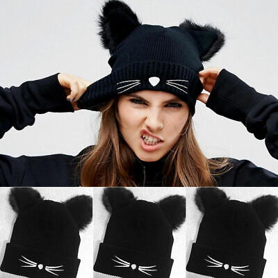 Women Lady Girl Winter Knitted Beanie Hat with Fluffy Double Cat Ear Pom Ski Cap