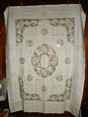 Antique Linen Tablecloth Filet Lace Inserts Cutwork 60 x 80