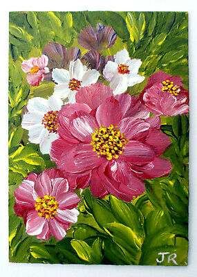 "ACEO Art Card Miniature Painting: ""Flowers of Joy"" by Judith Rowe"