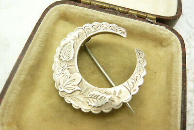 Antique Victorian Edwardian Sterling Silver Crescent Brooch Pin
