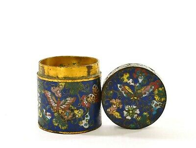 19th Century Chinese Heavy Gilt Cloisonne Enamel Box with Butterfly & Flower