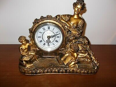 Mantel Clock  Lady with two figures Gold