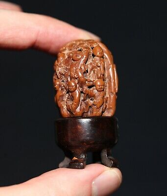 Antique Chinese carved Heidao nut walnut & stand, Qing Dynasty, Republic. FINE.