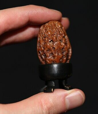 Antique Chinese carved Heidao nut walnut & stand, Qing Dynasty, Republic FINE!