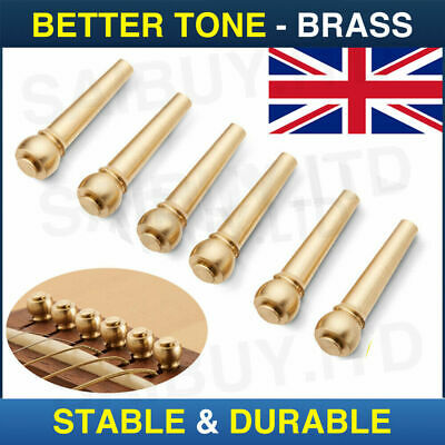 Gold Brass Acoustic Guitar Bridge Pegs Pins Set Replacement Parts String Nail