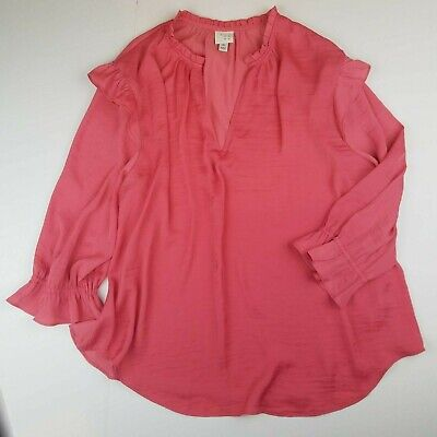 Target A New Day Womens Size XL Long Sleeve Satin Ruffle Coral Blouse