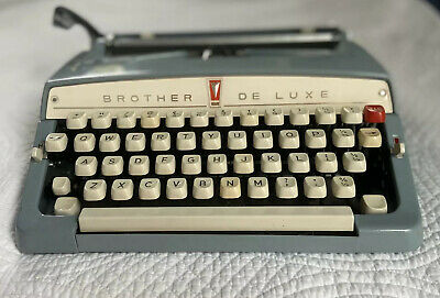 Vtg Mid Century Blue Brother Deluxe Typewriter Manual Old School Writing Tool