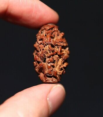 Antique Chinese fine carved Heidao nut bead, Qing Dynasty, 19th Century. SUPERB.
