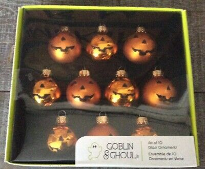 New Set/10 Halloween Pumpkin Glass Ornaments - Feather Tree Size -