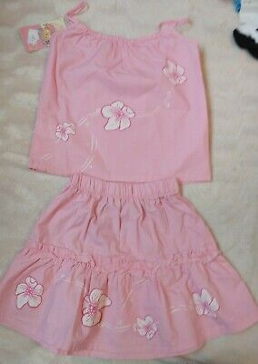 Girls Pretty Floral Pink Matching Skirt & top set - Age 5 years